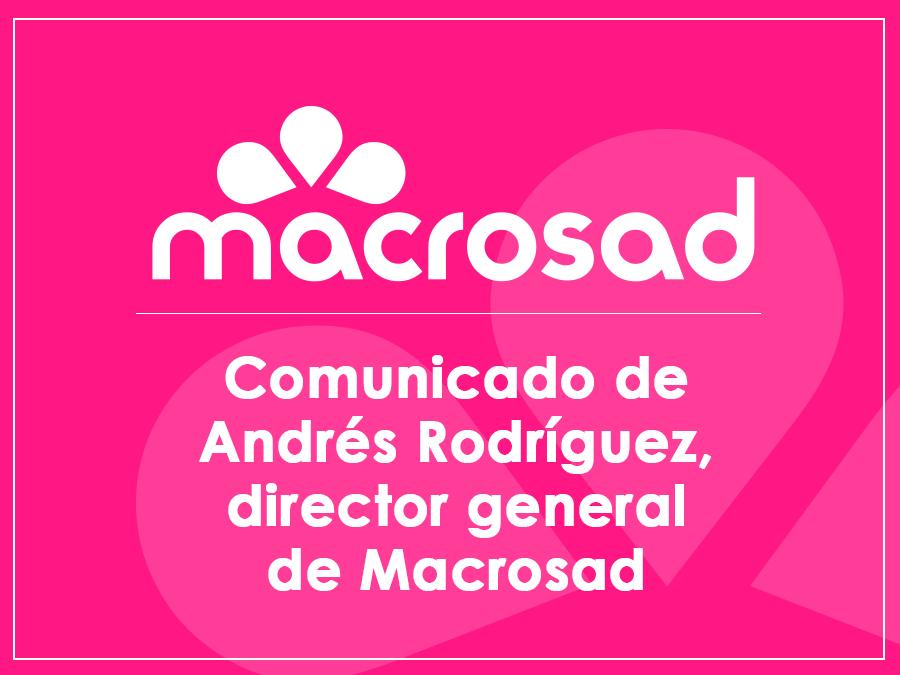 Comunicado Andrés Rodríguez sobre el COVID-19